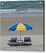 Lonely Beach Chairs Acrylic Print