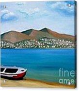 Lonely Boat Acrylic Print by Kostas Koutsoukanidis