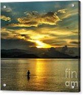 Lonely Fisherman Acrylic Print