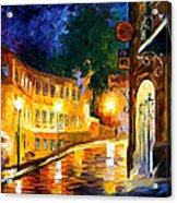 Lonely Night - Palette Knife Oil Painting On Canvas By Leonid Afremov Acrylic Print