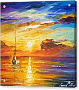 Lonely Sea 2 - Palette Knife Oil Painting On Canvas By Leonid Afremov Acrylic Print