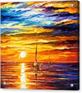 Lonely Sea 3 - Palette Knife Oil Painting On Canvas By Leonid Afremov Acrylic Print