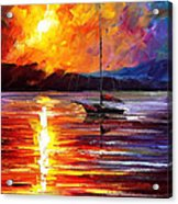 Lonely Yacht - Palette Knife Oil Painting On Canvas By Leonid Afremov Acrylic Print
