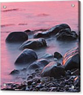 Long Exsposure Of Rocks And Waves At Sunset Maine Acrylic Print