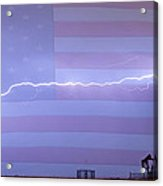 Long Lightning Bolt Across American Oil Well Country Sky Acrylic Print by James BO  Insogna