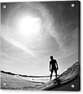 Longboarder Riding A Small Wave Acrylic Print