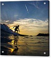 Longboarding Into The Sunset Acrylic Print
