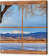 Longs Peak Across The Lake Barn Wood Picture Window Frame View Acrylic Print