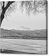 Longs Peak Winter View In Black And White Acrylic Print