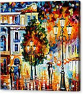 Lonley Couples - Palette Knife Oil Painting On Canvas By Leonid Afremov Acrylic Print