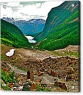 Looking Back To Lake Louise From Trail To Plain Of Six Glaciers In Banff Np-ab  Acrylic Print