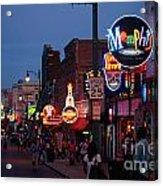 Looking Down Beale Street Memphis Acrylic Print