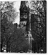 looking down Kurfurstendamm towards Kaiser Wilhelm Gedachtniskirche memorial church Berlin Germany Acrylic Print by Joe Fox