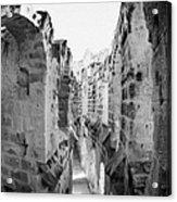 Looking Down On Internal Walkways From Upper Tier Of Old Roman Colloseum El Jem Tunisia Acrylic Print