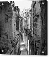 Looking Down On Internal Walkways From Upper Tier Of Old Roman Colloseum El Jem Tunisia Vertical Acrylic Print