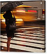Looking For A Taxi - Rush Hour New York Acrylic Print