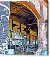 Looking Inside The Old Train Roundhouse At Bayshore Near San Francisco And The Cow Palace IIi  Acrylic Print