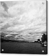 looking out from coal harbour into Vancouver Harbour on an overcast cloudy day BC Canada Acrylic Print by Joe Fox