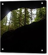 Looking Outside Boulder Cave Acrylic Print