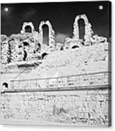 Looking Up At Rear Remains And Layered Seating Area In The Main Arena Of The Old Roman Colloseum At El Jem Tunisia Acrylic Print