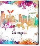 Los Angeles California Skyline Colored Acrylic Print