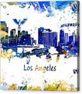 Los Angeles California Skyline Yellow Blue Acrylic Print