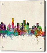 Los Angeles City Skyline Acrylic Print by Michael Tompsett