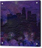 Los Angeles Skyline Brick Wall Mural Acrylic Print