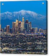 Los Angeles Skyline With Snow Capped Mountains Acrylic Print