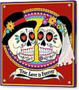Los Novios Sugar Skulls Acrylic Print by Tammy Wetzel