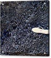 Lost Flip Flop On Lava Rock Acrylic Print