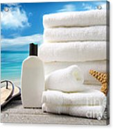Lotion  Towels And Sandals With Ocean Scene Acrylic Print by Sandra Cunningham