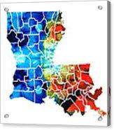 Louisiana Map - State Maps By Sharon Cummings Acrylic Print