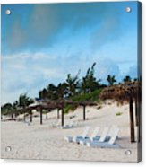 Lounge Chairs And Parasol On Pink Sands Acrylic Print