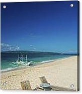 Lounge Chairs And Traditional Boat On Puka Beach In Boracay Phil Acrylic Print