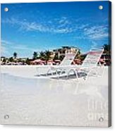 Lounge Chairs On Grace Bay Beach Acrylic Print by Jo Ann Snover
