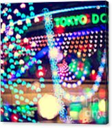 Love And Tokyo Dome With Colorful Psychedelic Heart Lights Acrylic Print