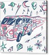 Love Bus Vector Poster. Hippie Car Acrylic Print