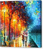 Love By The Lake - Palette Knife Oil Painting On Canvas By Leonid Afremov Acrylic Print