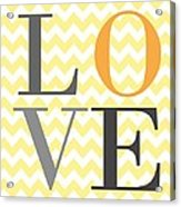 Love Chevron Yellow Acrylic Print