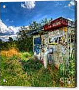 Love Graffiti Covered Building In Field Acrylic Print