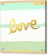 Love In Mint And Gold Acrylic Print