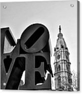Love Is Just Black And White Acrylic Print
