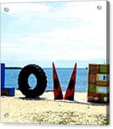 Love On The Beach Found Art Outer Banks Acrylic Print