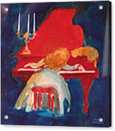 Love On The Red Piano Acrylic Print by Eve Riser Roberts