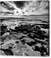 Love On The Rocks Bw Acrylic Print