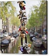 Love Padlocks In Amsterdam Acrylic Print