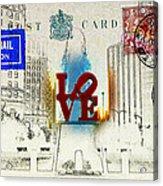 Love Park Post Card Acrylic Print