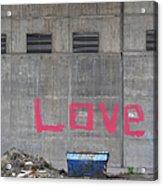 Love - Pink Painting On Grey Wall Acrylic Print