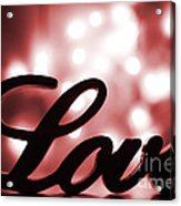 Love Sign With Red Sparkle Acrylic Print